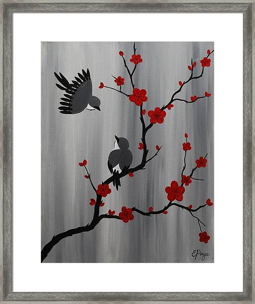 Birds And Blooms In Red Framed Print