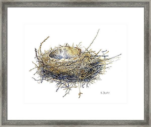 Bird's Nest Watercolor Painting Framed Print