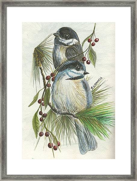 Birds Two And Fir Tree Framed Print