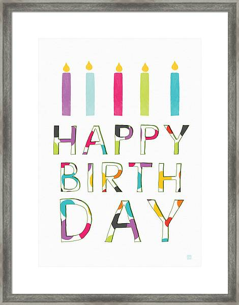 Birthday Candles- Art By Linda Woods Framed Print