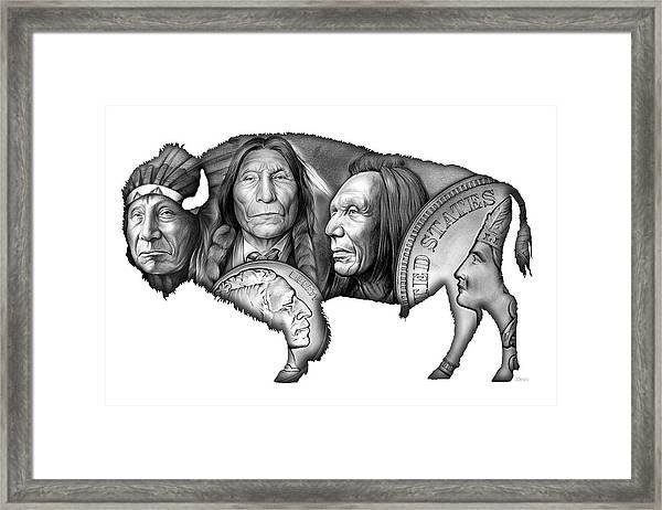 Bison Indian Montage 2 Framed Print