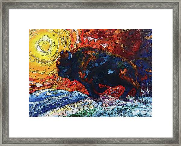 Bison Running Print Of Olena Art Wild The Storm Oil Painting With Palette Knife  Framed Print