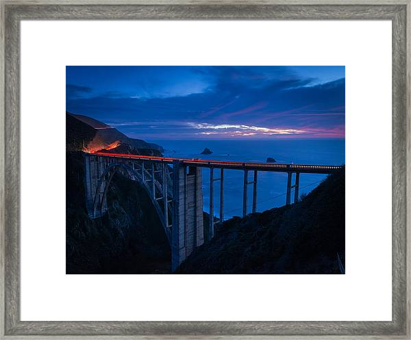 Bixby Canyon Bridge Sunset Framed Print