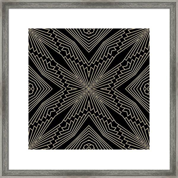 Black And Gold Art Deco Filigree 003 Framed Print