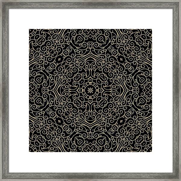 Black And Gold Filigree 002 Framed Print