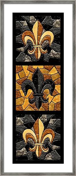 Black And Gold Triple Fleur De Lis Framed Print
