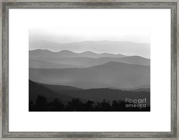Black And White Blue Ridge Mountains Framed Print