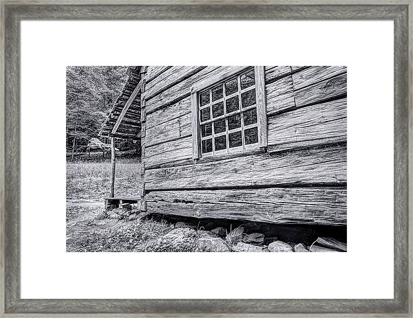 Black And White Cabin In The Forest Framed Print