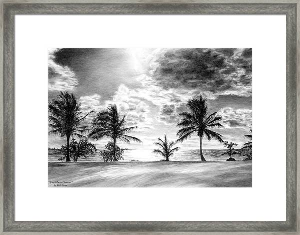 Black And White Caribbean Sunset Framed Print