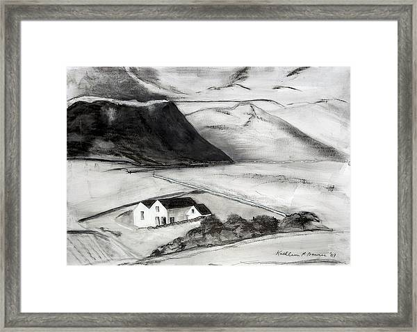 Black And White House And Hills Framed Print
