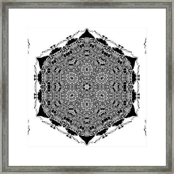 Framed Print featuring the digital art Black And White Mandala 15 by Robert Thalmeier