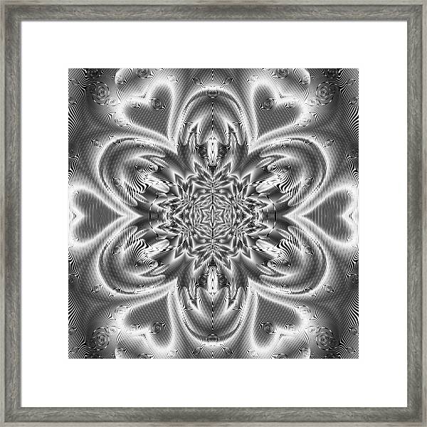 Framed Print featuring the digital art Black And White Mandala 9 by Robert Thalmeier