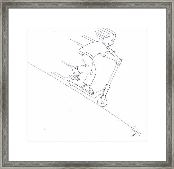 Black And White Micro Scooter Downhill Drawing Framed Print