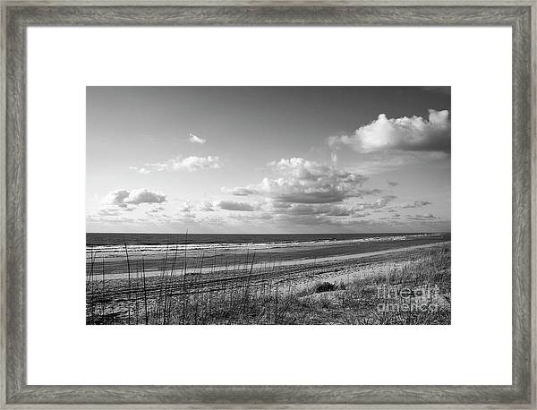 Black And White Ocean Scene Framed Print