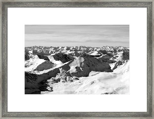 Black And White Of The Summit Of Mount Elbert Colorado In Winter Framed Print