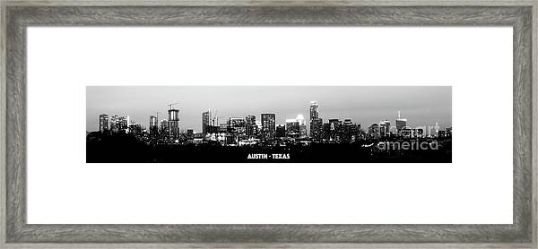 Black And White Panoramic View Of Downtown Austin Framed Print