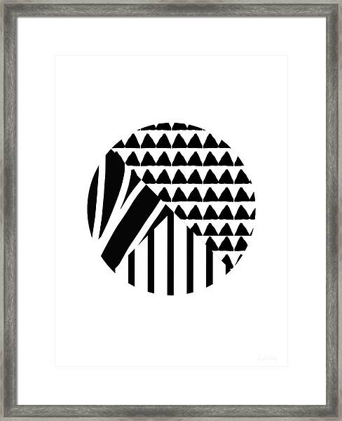Black And White Patchwork Pattern Ball- Art By Linda Woods Framed Print