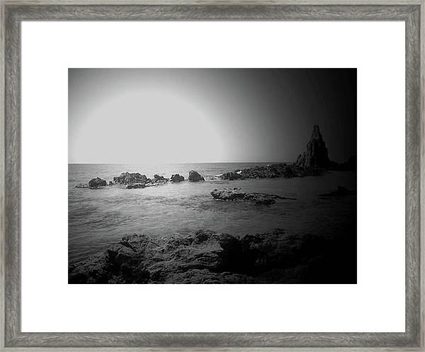Black And White Sunset In Spain Framed Print
