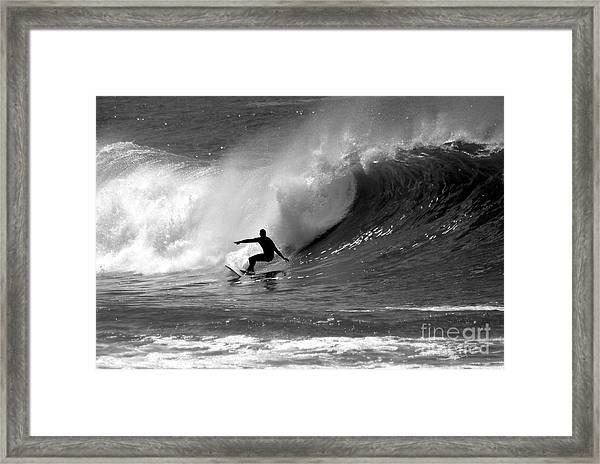 Black And White Surfer Framed Print