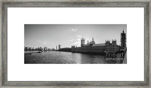 Black And White View Of Thames River And House Of Parlament From Framed Print