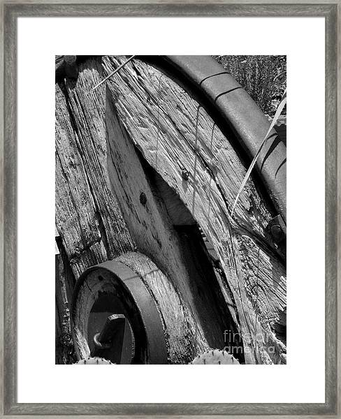 Black And White Wagon Wheel 1 Framed Print