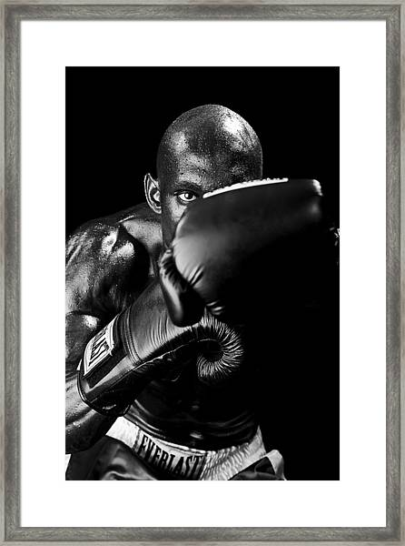 Black Boxer In Black And White 04 Framed Print