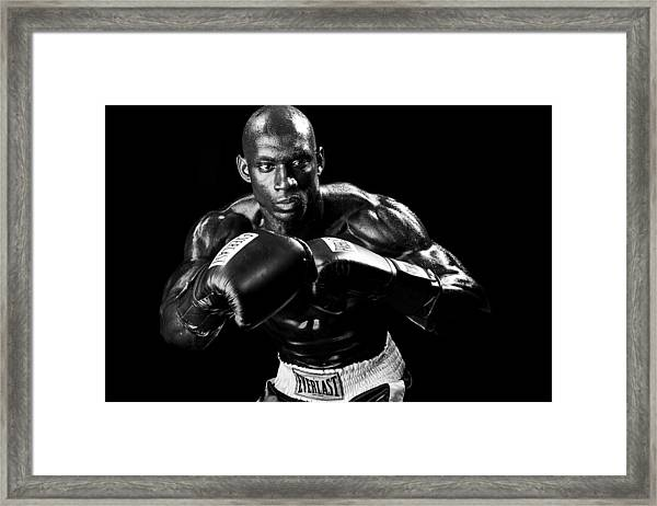 Black Boxer In Black And White 07 Framed Print
