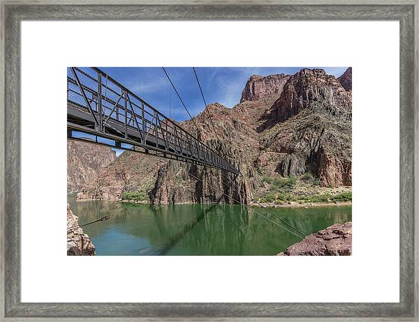 Black Bridge Over The Colorado River At Bottom Of Grand Canyon Framed Print