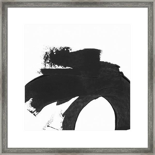 Black Brushstroke 4- Art By Linda Woods Framed Print