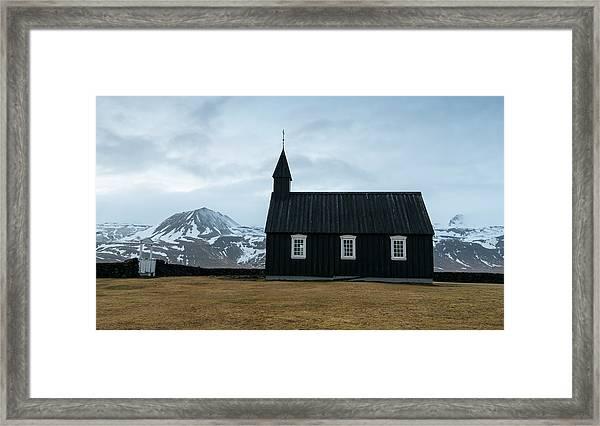 Black Church Of Budir, Iceland Framed Print