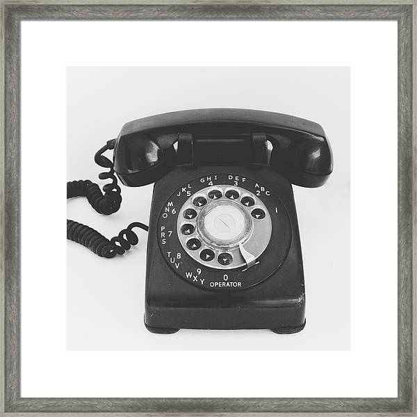 Black Landline Phone- Art By Linda Woods Framed Print