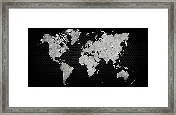 Black Metal Industrial World Map Framed Print