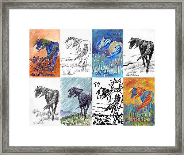 Black Mustang Sampler Framed Print