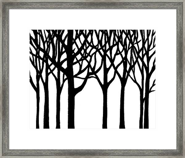 Black N White Forest Framed Print