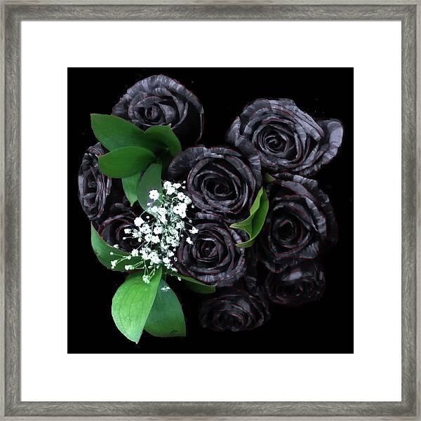 Black Roses Bouquet Framed Print