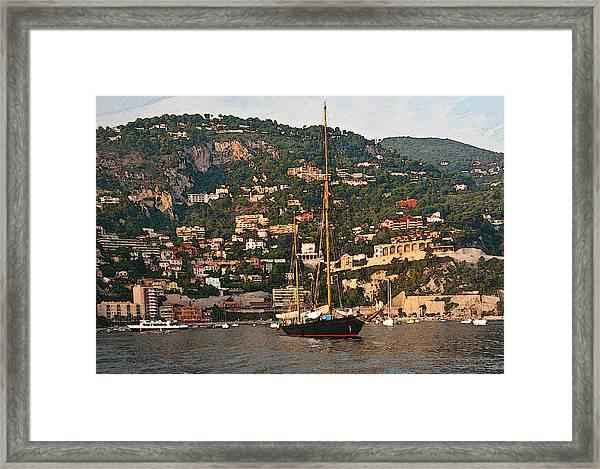 Black Sailboat At Villefranche II Framed Print