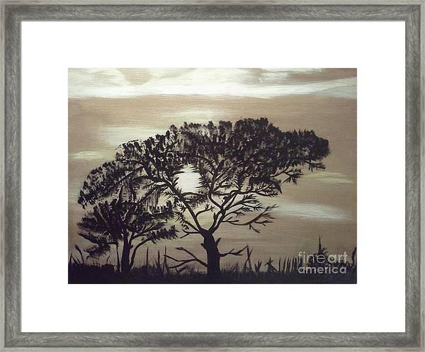 Black Silhouette Tree Framed Print
