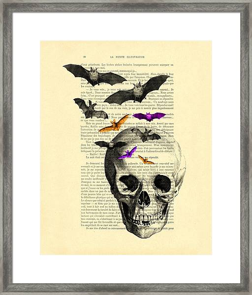 Black Skull And Bats On A Dictionary Page Framed Print