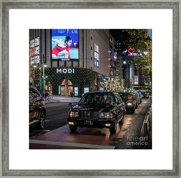 Black Taxi In Tokyo, Japan Framed Print