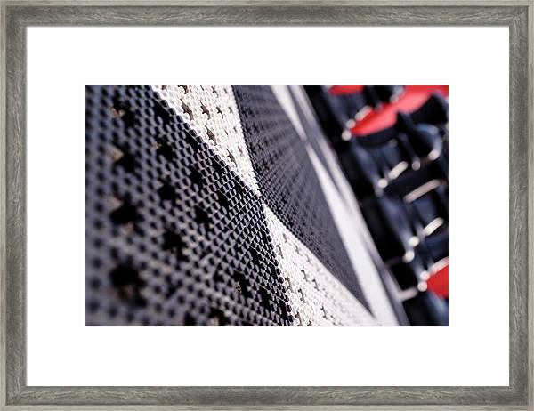 Black White And Red Chess Board Outside In Grand Rapids Michigan Framed Print