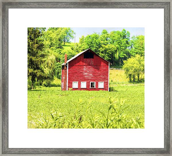 Blazing Barn Framed Print