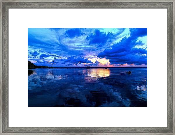 Blazing Blue Sunset Framed Print
