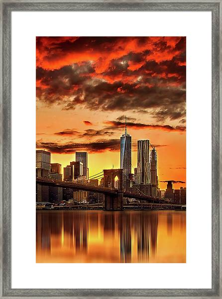 Blazing Manhattan Skyline Framed Print