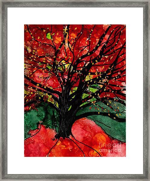 Blazing Red Orange Autumn Tree Framed Print