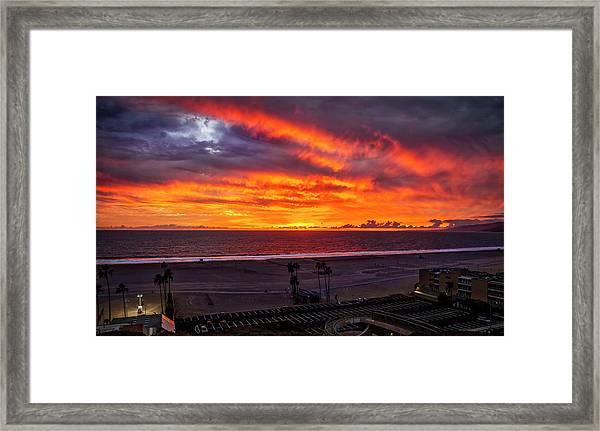 Blazing Sunset Over Malibu Framed Print