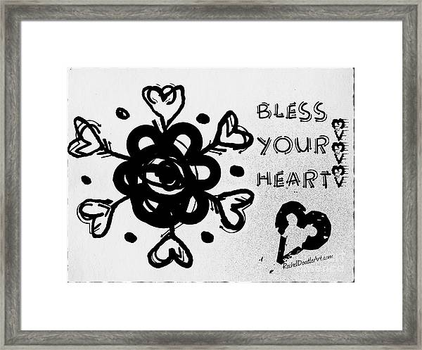 Framed Print featuring the drawing Bless Your Heart by Rachel Maynard
