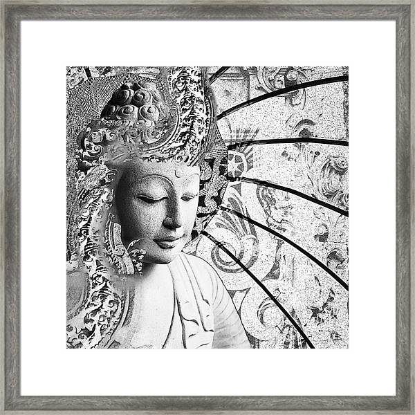 Framed Print featuring the digital art Bliss Of Being - Black And White Buddha Art by Christopher Beikmann