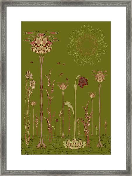 Blob Flower Garden Full View Framed Print