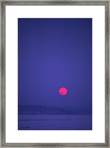 Blood Moon - Cedar Point - Lake Geneva Wisconsin Framed Print