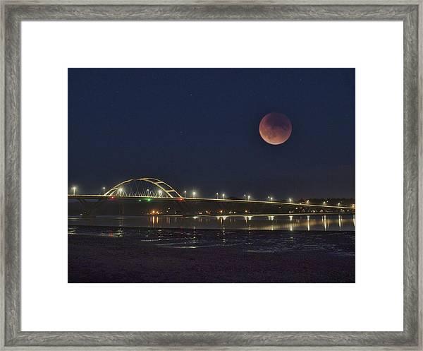 Blood Moon Over Alsea Bay Framed Print